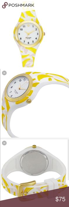 💋SALE💋Kate Spade Rumsey Banana Silicone Watch Gorgeous watch, banana print silicone strap watch, 30 mm, round case, gold tone stainless steel bezel, water resistant to 30 meters, quartz movement, white dial with gold tone spade at 12 o'clock, numerals, 2 hands and KS logo, tag attached, brand new in original box, working battery.                      ✅🎉FINAL SALE🎉✅         🎄10% off bundle of 2 items or more!🎄                             •NO TRADING                             •smoke…