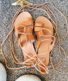 ERATO Greek Tie up Gladiator Leather Sandals for Boho Style