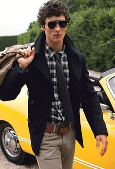 Fall / Winter - street style - casual style - aviators + Aviator Shades + navy peacoat + navy and white plaid shirt + brown wide belt + dark medium tie + corduroys