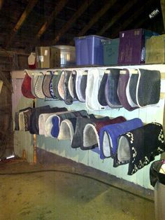 Blanket storage in a Tack room.