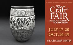 """The Big One! --- the great """"Craft Fair of the Southern Highlands"""" from the Southern Highlands Craft Guild returns to the U.S. Cellular Center in downtown Asheville, NC. This long-running, twice-annual festival - July 17-20 and Oct. 16-19 in 2014, features over 200 artist exhibitors, taken from the Guild group of about 1,000 juried members, and is spread out over two levels of the center."""