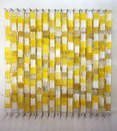 Jacob Hashimoto, field of yellow blocks.