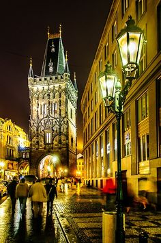 Night Lights in Prague, Czechia (Dusty Gate)