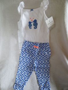 Carter's Baby Girl 2 Piece Set Size 12  Months White/Blue Cute New #Carters #DressyEveryday