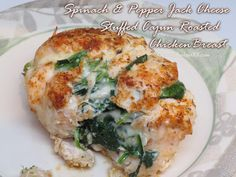 Cajun Roasted Chicken Breast stuffed with a hearty blend of spinach and pepper jack cheese- amazingly easy to recreate Healthy Chicken Recipes, Real Food Recipes, Cooking Recipes, What's Cooking, Roasted Chicken Breast, The Fresh, Healthy Eating, Favorite Recipes, Stuffed Peppers