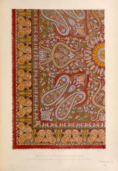 Shawl from Delhi, the pattern worked on a cashmere ground. From New York Public Library Digital Collections.