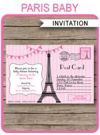 Paris Baby Shower Invitations Template – pink