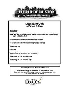 Free - Elijah of Buxton Literature Unit or Book Club selection