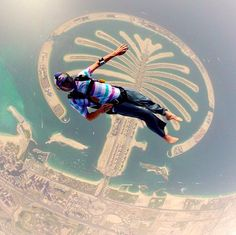 Red Bull Air Force team member Jeff Provenzano rockin' a 5 Year Basic Tee while jumping over Dubai.