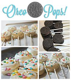 Craving the cutest dessert on a stick? This Oreo Pops Recipe is so simple to make, and make the best party treats! Go grab the Oreos! Oreo Pops, Köstliche Desserts, Delicious Desserts, Dessert Recipes, Yummy Food, Party Recipes, Cookie Recipes, Summer Recipes, Dessert Healthy