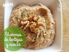 Hummus de lentejas y nueces. Receta vegana. Un plato delicioso, sano, muy económico, súper fácil y rápido de preparar. Perfecto como paté vegetal.