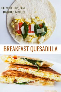 Mediterranean Breakfast Quesadilla -easy and healthy breakfast recipe you can make in about 10 minutes with basic, easy Healthy Filling Breakfast, Egg Recipes For Breakfast, Savory Breakfast, Healthy Filling Meals, Breakfast On The Go, Diet Breakfast, Dinner Recipes, Mediterranean Breakfast, Mediterranean Diet Recipes