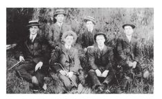 The photograph of six young men at Lumb Falls that inspired the poem 'Six Young Men' by Ted Hughes. all six died WWI