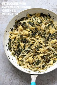 Fettuccine with Caramelized Onions, Greens and Vegan Feta - ish cheese. Easy Weeknight meal. Make the cheese ahead, then the dish is 1 Pot and 30 minutes. #Vegan, can be Gluten-free, Soy-free #veganricha | VeganRicha.com