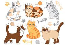 Cats Set  by Tanita_B on @creativemarket