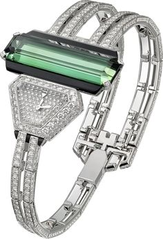 CARTIER. High Jewellery visible hour watch, quartz movement. Rhodium-finish 18K white gold case and bracelet set with an octagonal-shaped green tourmaline of 15.13 carats, 272 brilliant-cut diamonds totalling 1.99 carats and 5 onyx totalling 2.23 carats, rhodium-finish 18K white gold dial set with 79 brilliant-cut diamonds totalling 0.32 carats, rhodium-finish 18K white gold sword-shaped hands. Water-resistant to 3 bar (approx. 30 metres). Wrist size 165 mm. Unique piece.