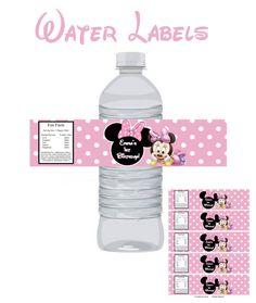 Minnie Mouse Wasserflasche Etiketten Geburtstag von DigitalWorld1