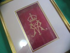 Antiques Rare And Very Unique Antique English Red Leather Panels With Gilt Coat Of Arms