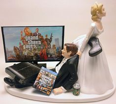 Grand Theft Auto V! Grand Theft Auto Games, Grand Theft Auto Series, Video Game Wedding, Wedding Games, Gta 5, Gta Funny, Funny Cake Toppers, Funny Wedding Cake Toppers, Gta Online