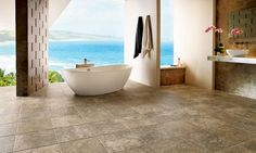 How cool is this luxury vinyl tile - Classico Travertine - Sandstone/Blue from Armstrong?!