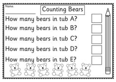 FREE math printable to use with counting bears. Makes a great center activity and can be completed independently.