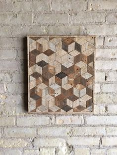Reclaimed Wood Wall Art, Decor, Pattern, Lath, 3D, Cube, Geometric, Graphic Pattern