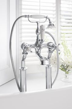 Classically designed brassware - Belgravia Crosshead bath shower mixer with kit from Crosswater Bathrooms UK.  http://www.crosswater.co.uk/product/taps-tap-collections-belgravia-crosshead/belgravia-crosshead-bath-shower-mixer-with-kit-bel422d/