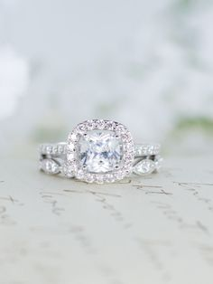 Halo Wedding Set - Engagement Ring - Wedding Ring - Cushion Cut Ring - Sterling Silver -  Vintage Inspired - Cubic Zirconia Ring - CZ Ring by MochaRings on Etsy https://www.etsy.com/listing/215879675/halo-wedding-set-engagement-ring-wedding