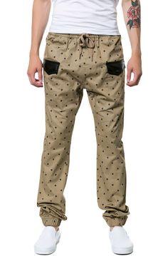 Square Zero Poker Pattern Printed Twill Jogger Pants in Khaki
