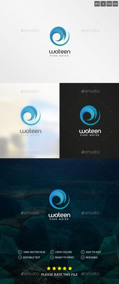 Wave / Water Logo — Photoshop PSD #drop #curl creative • Available here → https://graphicriver.net/item/wave-water-logo/18873235?ref=pxcr