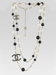 Chanel White/Black Beaded and CC Logo Long Necklace - Jewelry - CHN130516B
