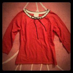 Ann Taylor Loft 3/4 Sleeve Sweater Size Small Ann Taylor Loft sweater. 3/4 sleeves. Black now in front weaves around neckline. Size small. LOFT Sweaters Crew & Scoop Necks