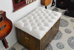 the hardest button to button a diy tufted storage ottoman, painted furniture, storage ideas, reupholster, DIY diamond tufted storage ottoman