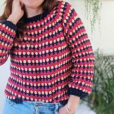 Ravelry: Granny Go Round Jumper pattern by Iron Lamb Love Crochet, Crochet Yarn, Knitting Yarn, Crochet Tops, Crochet Ideas, Crochet Projects, Jumper Patterns, Crochet Blanket Patterns, Crochet Cardigan