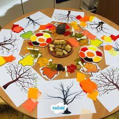 Autumn painting activity using corks, paint and paper. You can easily recreate this activity using our autumn craft instructions pack. #autumn #painting #paint #autumnideas #teach #teaching #teachingideas #parents #parenting #parentinghacks #craft #craftforkids #outdoorlearning #twinkl #twinklresources
