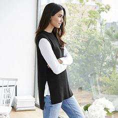 Side Split Sleeveless Jumper - Dark Charcoal