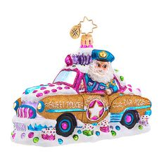 Christopher Radko Ornament - Candy Cop Cruiser