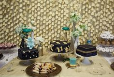 Black, Gold, and Teal party
