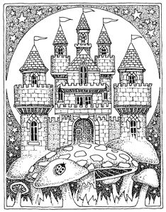 Coloriage d'un chateau sur des champignons (probablement hallucilogènes). A vos crayons !