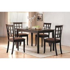 """5 Pc Espresso Finish Dining Room Table Set  5 pc espresso finish dining room table set with 4 padded chairs, table measures 48 x 32"""" chairs 36"""" H. Some assembly required. """" Features : Some assembly may be required. Please see product details.  Color : Expresso"""