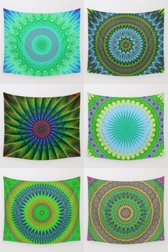 Green mandala wall tapestry collection. Mandala - bohemian - ethnic - indian - floral - kaleidoscope tapestries - wall hangings.