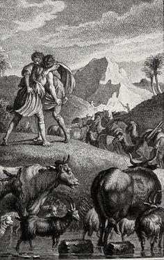 Jacob wrestles with an angel. Genesis cap 32 v 24. Marillier. Phillip Medhurst Collection on Flickr. A print from the Phillip Medhurst Collection at St. George's Court, Kidderminster.