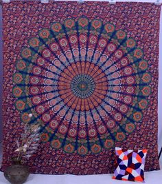 Indian Tapestry Mandala Wall Hanging Ethnic Throw Queen Bedspread Hippie Blanket #Handmade #Ethnic #WallHangingTapestryBeachThrowBedspread