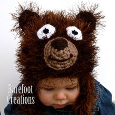 Fuzzy Brown Bear - Newborn - Adult  Barefoot Creations  #thecraftstar