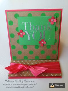 Handmade card featuring the Shine On Designer Paper and Watermelon Wonder Stitched Satin ribbon from the Stampin' Up! Occasions catalog. The Another Thank you stamp set is used for the words also by Stampin' Up. See all the details including products used on this blog post.