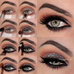 Sparkly Silver Smoky Eye Makeup Tutorial- ah mazing! Silver Eye Makeup, Dramatic Eye Makeup, Smoky Eye Makeup, Makeup For Green Eyes, Skin Makeup, Beauty Makeup, Makeup Tips, Makeup Ideas, Makeup Brushes