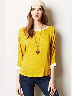 Women's Anthropologie Maeve Avery Polka Dot Blouse Yellow Ivory 10 #Anthropologie #Blouse #Casual