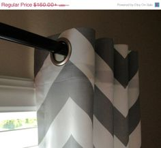 SALE Pair of Storm Grey and White Chevron Curtains by SewPanache, $150.00