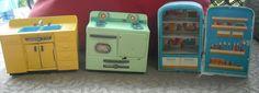 Vintage LINEMAR TOYS Tin Litho 3 Piece Toy Kitchen Set