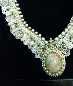 Michal-Negrin-Lace-Crystals-Cameo-Necklace-Rare